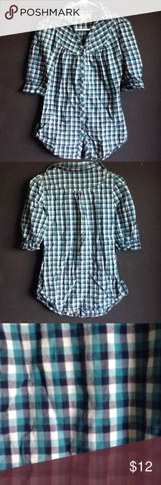 Blue and cream plaid shirt Gently used blue and cream plaid shirt Tops Button Down Shirts