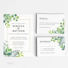 Modern Greenery Wedding Invitation Suite Wedding Invitation