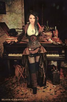 A lovely steampunk photoshoot~  #steampunk #piano #photography