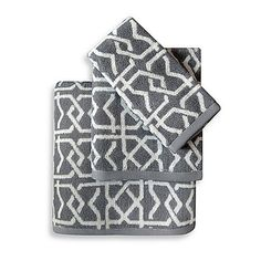 Colordrift Lattice Grey Fingertip Towel from Bed, Bath & Beyond