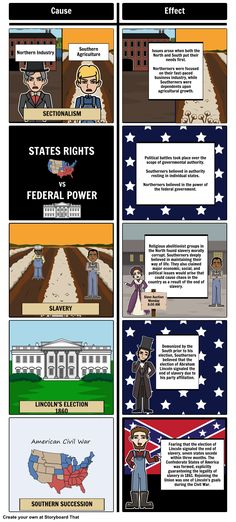 US Civil War - Causes of the Civil War: Students can create and show a storyboard that outlines the causes of the US Civil War and the effects on both the North and South by using our T-Chart layout.