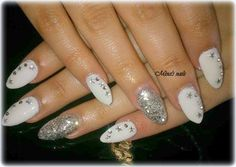 Eleonoras glamour white nails with silver  stars and glitter!!!