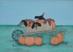 Wagon full of Dachshunds and Pumpkins at by watercolorqueen, $12.99