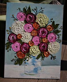 Original Impasto Flowers Bouquet Flowers Painting Abstract Flowers Painting Heavy Impasto Painting O Acrylic Painting Flowers, Painting Edges, Abstract Flowers, Acrylic Art, Painting Abstract, Palette Knife Painting, Your Paintings, Painting Inspiration, Flower Art