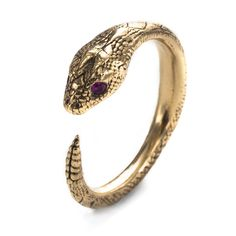 Serpent Ring in 10K Gold with Rubies