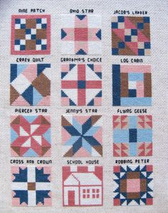 "Counted Cross Stitch ""Quilts"" Embroidery Floss Needle Craft Handmade"
