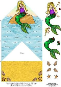 Mermaid On A Rock Diamond Top Spring Card on Craftsuprint - Add To Basket!
