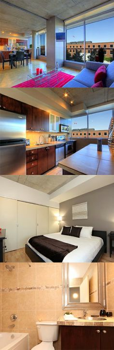 This serviced apartment is a five minute walk from ByWard Market and a ten minute walk from the Rideau Centre. The bright and modern one bedroom apartment is decorated in fuchsia pink and slate grey with rich brown wood. Here is Mint Apartment, Centre, Ottawa
