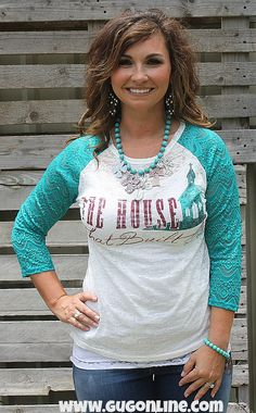 The House That Built Me Burnout Baseball Tee with Jade  Lace Sleeves $28.95 www.gugonline.com