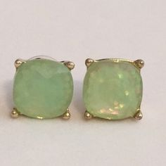 Large Light Green Sparkle Stud Earrings Beautiful Large Gumdrop Sparkle Stud Earrings in a light Mint Green color with glitter set in the resin stones. Gives an iridescent look. Approximate size of a dime or penny. New. No Trades. ✨Note: All products are free from detectable defects by me unless otherwise stated in the description. All products are sold as is & without refunds or returns.✨ Boutique Jewelry Earrings