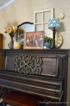 antique piano top vignette--I want the piano to serve as an instrument as well as decor . . .