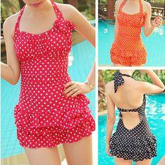 Want a cute polka dot bathing suit!