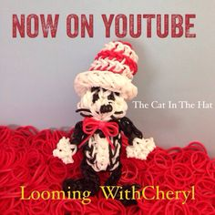 The Cat In The Hat Rainbow Loom. characters. Tutorial is Now on YouTube! There are 2 videos: one for the Cat, and the other for the Hat. Gomas.  Figures Charms. Please Subscribe ❤️❤ m.youtube.com/user/LoomingWithCheryl Rainbow Loom Tutorials, Rainbow Loom Patterns, Rainbow Loom Creations, Loom Love, Fun Loom, Rainbow Loom Charms, Rainbow Loom Bracelets, Loom Bands Disney, Cute Crafts