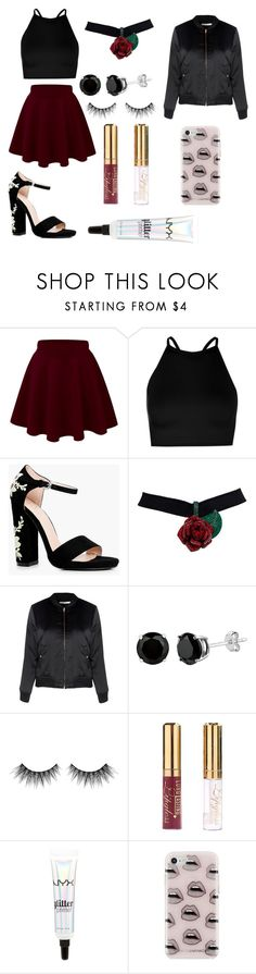 """Black and burgundy"" by toxicshadows on Polyvore featuring Boohoo, Glamorous, Huda Beauty, NYX and Rebecca Minkoff"
