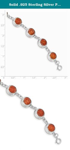 Solid .925 Sterling Silver Polished Round Red Synthetic Coral Bracelet 7 inches. Material: Primary - Purity:925|Finish:Polished|Stone Color_1:Red|Stone Clarity_1:Created|Chain Length:7 in|Clasp /Connector:Spring Ring|Material: Primary:Sterling Silver|Stone Shape_1:Round|Product Type:Jewelry|Jewelry Type:Bracelets|Bracelet Type:Fancy|Material: Primary - Color:White|Stone Type (Other)_1:Coral.