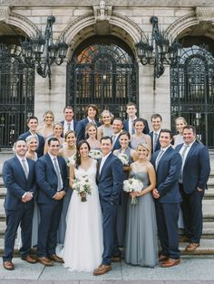 Classic downtown Boston wedding with bridal portraits in Copley Square and mismatched bridesmaids dressed in shades of grey. Silver Grey Bridesmaid Dresses, Bridesmaid Dress Colors, Wedding Bridesmaid Dresses, Grey Dresses, Wedding Suits, Wedding Attire, Groomsmen Colours, Blue Groomsmen, Bridal Party Color Schemes