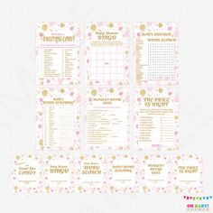 Pink and Gold Baby Shower Games Bundle games pack by OhBabyShower