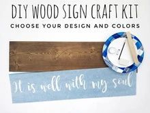 Load image into Gallery viewer, DIY Wood Sign Kit | Various Designs | Plank Stained Board Diy Wood Signs, Rustic Wood Signs, Custom Stencils, Stencil Designs, Nursery Wood Sign, Make Your Own Sign, Hand Painted Walls, Cricut Tutorials, Craft Night