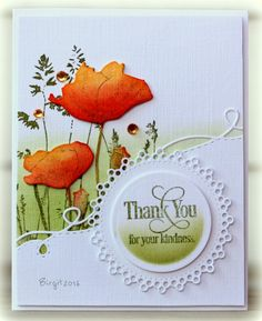 Thank you card with dies and stamps from Penny Black. I thought of you kind ladies who comment my cards...you make my day!