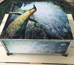 Box with drawer, Keepsake for her, ring wood box, peacock decoration, Dressing table, gift box for mom, retro box gift, handcrafted box
