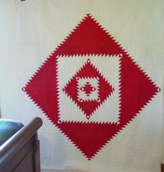 Red and White Sawtooth Diamond Quilt Circa:  1900