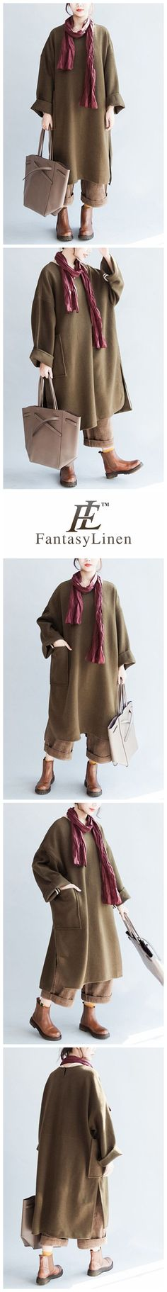Wool Pure Loose Plus Size Dress With Pockets Women Clothes Q7133