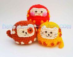 HandmadeKitty: Daruma Japanese wish dolls Kitty Doggy Amigurumi Crochet pattern