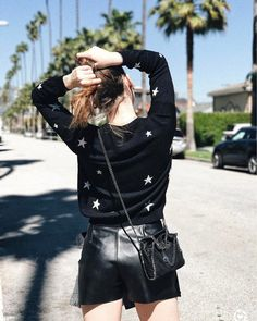 Sweater: shorts tumblr black stars black shorts leather shorts bag black bag crossbody bag all black