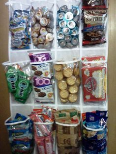 Tired of stuffing your snacks in random places and having a hard time finding them? Use something like this to help organize and see your snacks