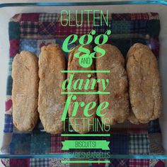 Homemade teething biscuits and recipe.  Gluten free, egg free, dairy free!