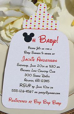 Details About Mickey Mouse Baby Shower Invitation Shape Of Baby Bottle!  Wording Customized