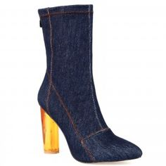 Maya High Ankle Heeled boots in Blue denim with Perspex heel