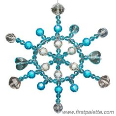 Beaded Snowflake craft. Would be fun for the Girl Scout Ornament Workshop.