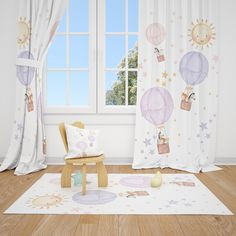 Excited to share this item from my #etsy shop: Watercolor Balloons and Safari Animals Baby Girl Room Curtain Nursery Curtains Window Curtains