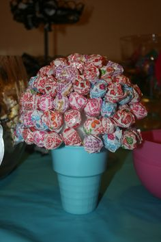 Sucker Cone, easy to make.  Foam ball with dum, dums poked into foam ball.