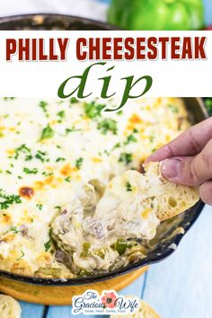 Philly Cheesesteak Dip is a warm, gooey deconstructed version of a sandwich classic. Loaded with tender ribeye, fresh green peppers, sweet onions, and melted cheese. If you're a fan of Philly Cheese Steaks, you are absolutely going to LOVE this deconstructed dip version! | The Gracious Wife @thegraciouswife #cheesesteakdiprecipe #appetizerrecipes #easyappetizers #partyfood #ribeyerecipes #bestdiprecipes #thegraciouswife Philly Cheese Steak Dip, Cheese Steaks, Rib Eye Recipes, Best Dip Recipes, Cheesesteak Dip Recipe, Appetizer Recipes, Sweets Recipes, Cookie Recipes, Dinner Recipes