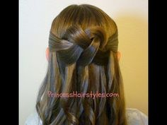 "▶ ""Woven Knot"" Half Up Hair Style, Homecoming Hairstyles - YouTube"