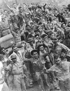 """9 April 1942 - Bataan falls to the Japanese. The """"Bataan Death March"""" begins, as the captives are taken off to detention camps in the north. Us Marines, Nagasaki, Hiroshima, World History, World War Ii, Boy Scouts, Bataan Death March, Iwo Jima, Prisoners Of War"""