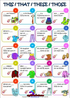 Demonstrative Adjectives and Pronouns ESL Worksheet