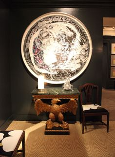 George II giltwood marble top eagle-form console, James Rosenquist art - at the Sotheby's Showhouse