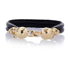 Black leather double skull bracelet - bracelets - jewellery - women