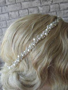 Rhinestones and Pearl Wedding Headband / bridal by PRIVATEBRIDES