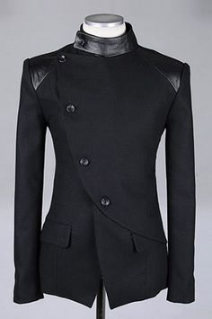 Men Fashion British Style Long Sleeve Slant Buttons Design Black Polyamide Coat M/L/XL@S0-6381-1b