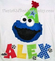 Cookie Monster tshirt, birthday boy shirt, Sesame Street clothes.. $24.50, via Etsy.