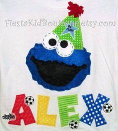 Cookie Monster tshirt, birthday boy shirt, Sesame Street clothes.. $24.50, via Etsy.