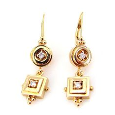 Stunning 0.19ctw Vintage Diamond Drop Earrings in 14K Yellow Gold | FJ OI #DropDangle