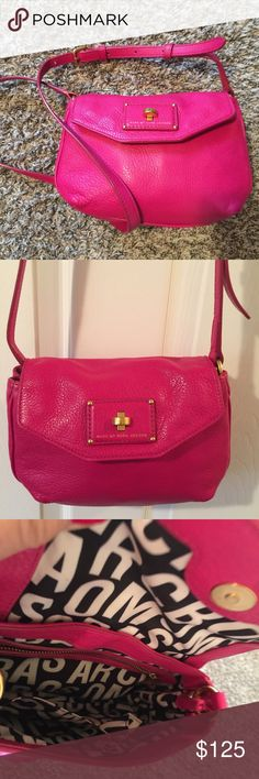 Cute small magenta pink Marc by Marc Jacobs Pink leather cross body  Excellent condition  Clean and leather conditioned and cleaned  9 x 6.5 x 2.5.  Magenta Pink Marc by Marc Jacobs Bags Crossbody Bags