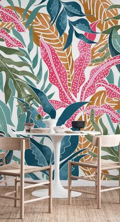 Botanicalia Wall Mural / Wallpaper Nature – A. Mural Floral, Floral Wall, Deco Cool, Garden Mural, Mural Wall Art, Painting Murals On Walls, Painted Wall Murals, Bedroom Murals, Paint Designs