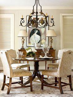 Benjamin Moore Bennington Gray and trim Linen white.  Brazilian walnut table. Antique rug.