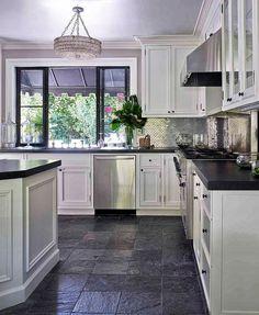 Dark Grey Kitchen Floor Tiles Dark Tiles for Kitchen Rumah Joglo Limasan Work Slate Floor Kitchen, Grey Kitchen Tiles, Dark Kitchen Floors, Gray And White Kitchen, Grey Kitchens, Kitchen Redo, Kitchen Flooring, Kitchen Black, Dark Counters
